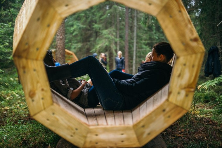 Estonian students build a giant wooden megaphones to listen to the forrest