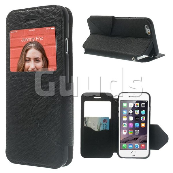 Roar Korea Fancy Diary View Window Leather Case for iPhone 6s Plus / 6 Plus 6P(5.5 inch) - Black - Leather Case - Guuds