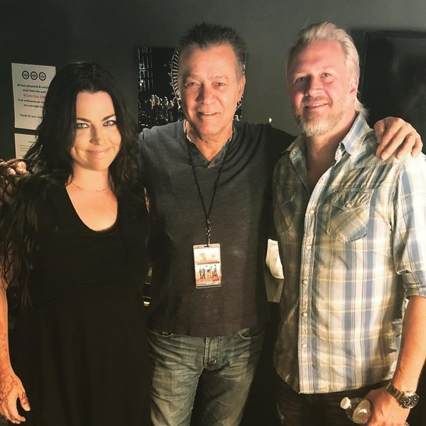 "Evanescence on Instagram: ""It was an incredible honor having THE @eddievanhalen come see us at the Greek in LA last night! So good to finally meet you, Eddie. You…"""