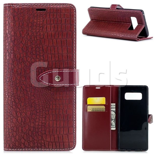 Luxury Retro Crocodile PU Leather Wallet Case for Samsung Galaxy Note 8 - Red Wine - Leather Case - Guuds