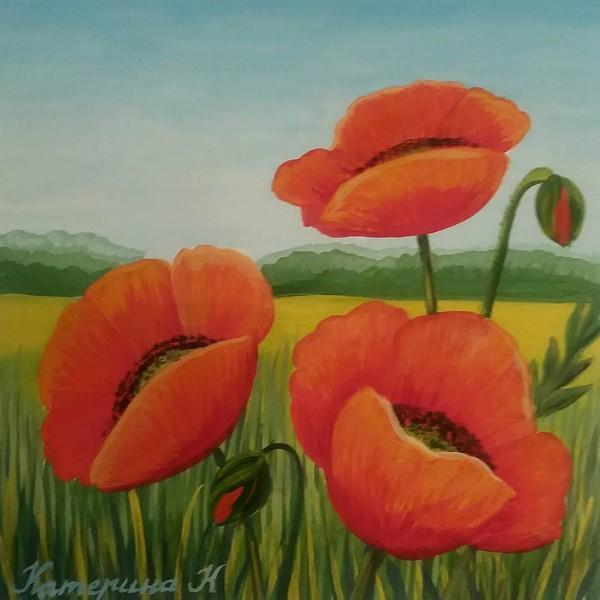 "Kateryna Komar on Instagram: ""Poppy Gouache on paper #gouache #painting #originalpainting #colorinspirations #colorlove #landscape #landscapeart #happyartistmovement…"""