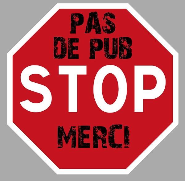PAS DE PUBLICITE PUB MERCI STOP BOITE A LETTRES 75mm AUTOCOLLANT STICKER PC004. | eBay