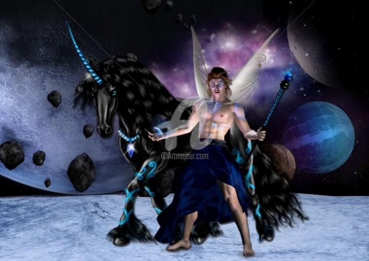 Orion fée sorcier et sa licorne lunaire