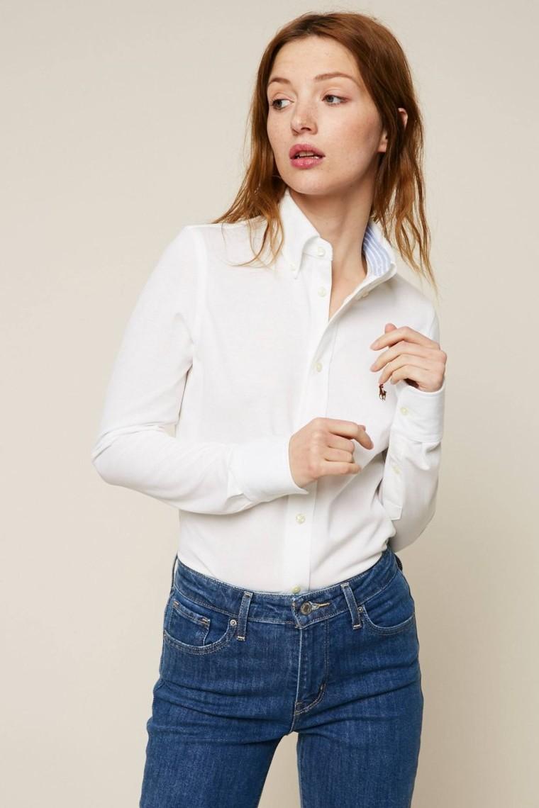 Polo Ralph Lauren Chemise à rayures blanc et bleu - Chemise Femme Monshowroom - Ventes-pas-cher.com