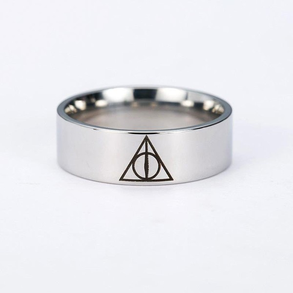 Harry P Deathly Hallows Ring Rotated Triangle Ring