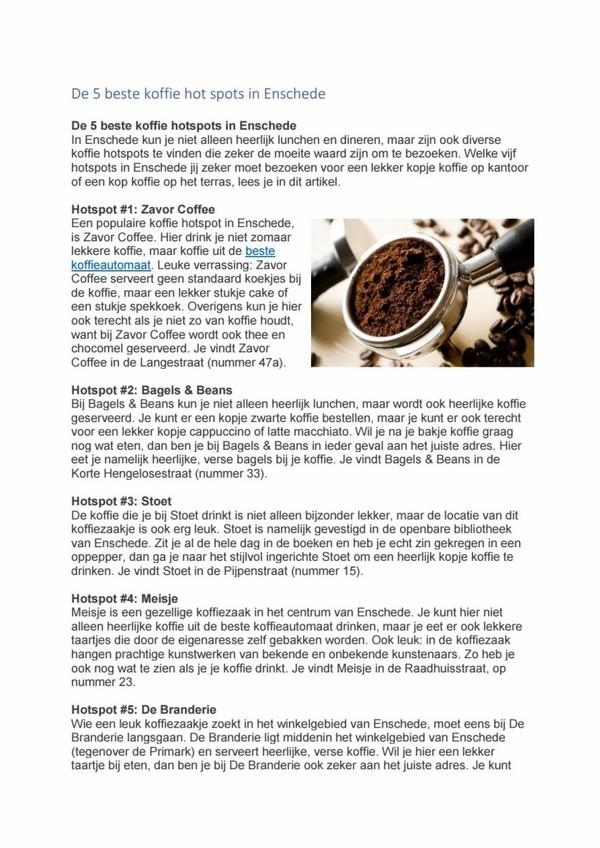 De 5 beste koffie hot spots in Enschede