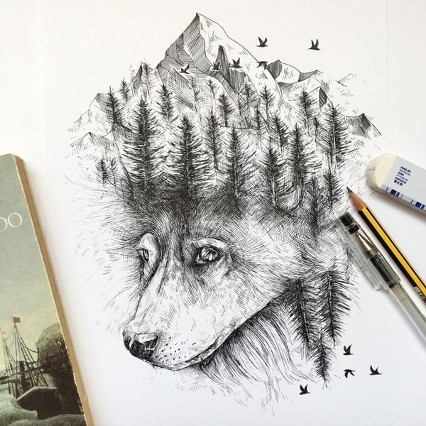 Nature Was My Kindergarten That Inspired These Black Pen Illustrations