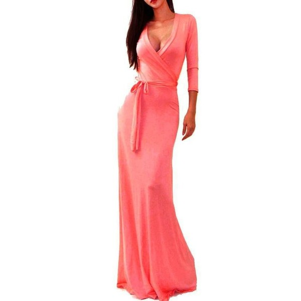 Summer Autumn Spring Solid V-neck 3/4 Sleeve High Waist Long Maxi – Express Delivry