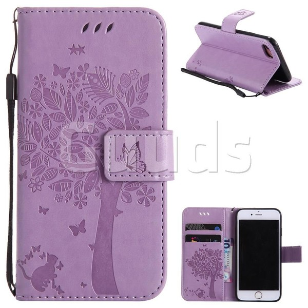 Embossing Butterfly Tree Leather Wallet Case for iPhone 7 7G(4.7 inch) - Violet - Leather Case - Guuds