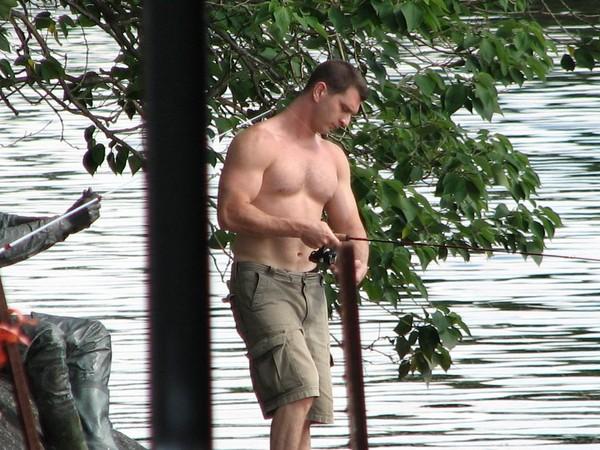 Shirtless Fisherman